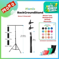 Background stand Model T Ukuran Lebar 70 x 200M Bonus Background 70x2M
