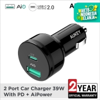 Aukey Car Charger 2 Ports USB C PD, PD 2.0 & AiQ - 500218