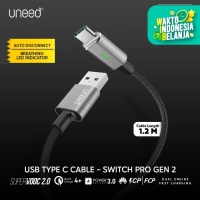 UNEED Kabel Data Auto Disconnect Type C 100W 6A SuperVOOC 2.0 QC 4+ PD