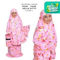 Mukena Anak Katun Tsum - Tsum Hello Kitty Pink ( Tas Tabung )
