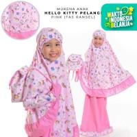 Mukena Anak Katun Hello Kitty Pelangi Pink ( Tas Ransel )
