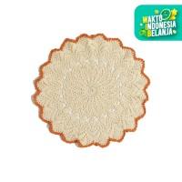Arini Craft Taplak Meja Benang Rajut - Warna Cream Orange bata