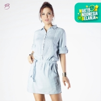 BODYTALK-DRESS LENGAN 3/4 CHAMBRAY BODYTALK DRESS 73013T2LL) - Biru Muda, L