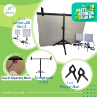 Mini studio|Paket : 60cm Background + Lampu 6Watt 2pcs + Stand BS70