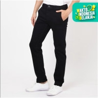 Papperdine 71 Stretch Celana Jeans Chinos Slim Fit Clana Karet Black