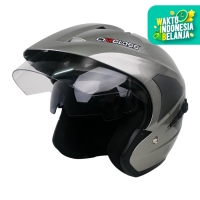 Helm Cargloss YD CR Double Visor half face - SILVER MET