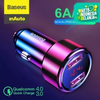 BASEUS CAR CHARGER QUICK CHARGE DUAL USB TYPE C CHARGER MOBIL 45W/6A - DUAL USB