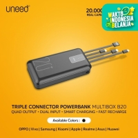 UNEED Powerbank 20000mAh Built in Cable Fast Charging 2.1A - UPB231.2