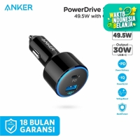 Charger Mobil Anker PowerDrive II with 1 PD and 1 IQ Black - A2229