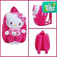 Tas Ransel Sekolah Anak TK Boneka Timbul Kucing Pink