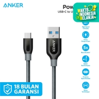 Kabel Charger Anker PowerLine+ 3ft/0.9m USB-C to USB-A 3.0 Gray- A8168