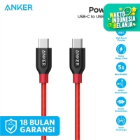 Kabel Charger Anker PowerLine+ USB-C to USB-C 2.0 3ft/0.9m Red - A8187
