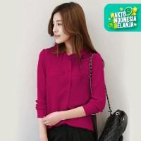 Jfashion Korean Style Plain Shirt Long SLeeve - Ummi