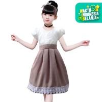 Two Mix Dress anak perempuan fashion Terlaris 4078 - Cokelat, 1
