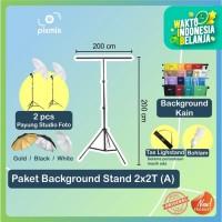 PAKET KOMPLIT STUDIO FOTO   2.4x2M BACKGROUND KAIN + LAMP + STAND T