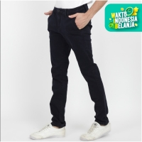 Papperdine 71 Stretch Celana Jeans Chinos Slim Fit Clana Karet Navy