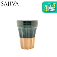 Gelas Keramik / Remboelan Mug - Grey over Green