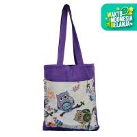 The KiliSuci Batik & Craft Mini Totebag Tenun Motif Owl Ungu 2 - Ungu