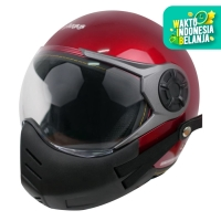 Paket Helm Cargloss YRM Visor Hardcoat Half Face - Deep Red + Masker