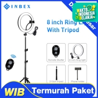 INBEX 20cm Ring Light with 210cm Tripod+Phone Holder+Bluetooth Remote