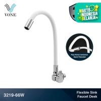 VONE 3219-66W Keran Kran Air Fleksibel Angsa Cuci Piring Tembok Putih