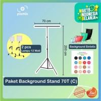 KOMPLIT STUDIO FOTO   STAND T - 70x200 CM BACKGROUND + STAND T + LAMP