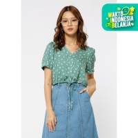 Colorbox V Neck Drawstring Blouse With Floral Print I:Bswkey120G027