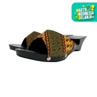 Dinara Klompen Sandal Wanita Koak Wedges Batik - Hitam Kuning