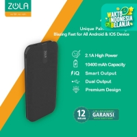Powerbank ZOLA Alpha 10400mAh Fast Charge 2.1A Dua Output -White/Black - Hitam