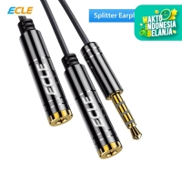 ECLE Kabel Aux Splitter 3.5 mm Male to 2 Female Konektor Stereo Mic