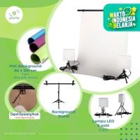 Paket Mini Studio|3x60cm Background + Lampu 6W 2pcs + Stand