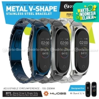 MIJOBS METAL V SHAPE Stainless Steel Wrist Strap Xiaomi Mi Band 4 & 3
