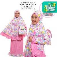 Mukena Anak Katun Hello Kitty Balon Pink ( Tas Ransel )