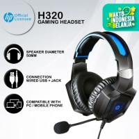 Headset Gaming HP H320 - Blue LED USB+Jack Wired