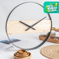 UCHII Exclusive Wall Clock Wooden Steel | Jam Dinding Analog Minimalis