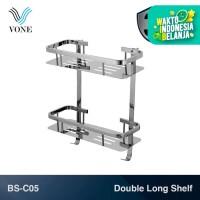 VONE BS-C05 Double Long Shelf Rak Panjang Kamar Mandi Toilet Chrome