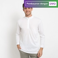 FTSL HAMSY baju koko lengan panjang koko polos kerah shanghai - Putih, M