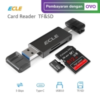 ECLE Card Reader OTG USB 3.0 Port Type C Micro SD Portable Multifungsi