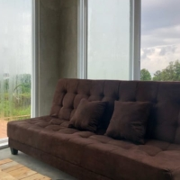 Sofa bed kain suede lembut kotak kotak free ongkir