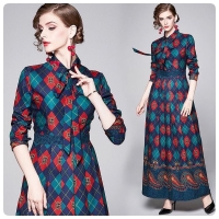 DRESS MAXI / LONG DRESS PRINTING BANGKOK MERAH HIJAU DIAMOND
