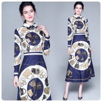 DRESS MAXI / LONG DRESS PRINTING BANGKOK MOTIF BIRU ROYAL