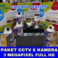 PAKET CCTV 8 CHANNEL 6 KAMERA CCTV 3MP FULL HD LENGKAP TINGGAL PASANG