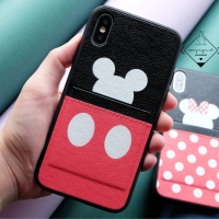 Mickey minnie pocket leather case iphone 6 6S 6+ 7 7+ 8 8+ X XR XS MAX