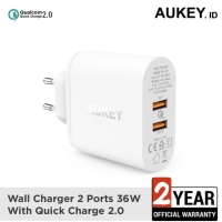 Aukey Charger 36W Dual Qualcomm Quick Charge 2.0 White - PA-T7 500380