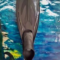 Scuba Diving Snorkel Kaki Katak Fins Closed Heels F-034-XL Black