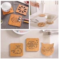(Kecil) Tatakan Gelas kayu motif Karakter / Tatakan Piring & Gelas