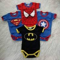 Set jumper bayi superhero 4in1 / romper batman superman spiderman