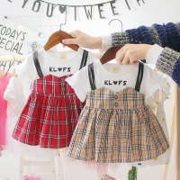 Korean Plaid Fake-Overall Dress for Baby Toddlers / Dres Anak Bayi
