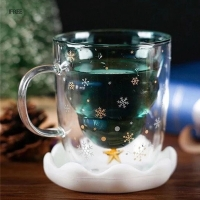 Christamas Tree Glass Cup Double Walled Glass Snowflake Anti-scalding