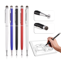 Stylus Pen Universal 2in1 Roundtip With Microfiber Touchpen iPhone Tab
